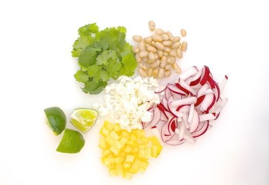 Cheddar Scramble with White Bean, Radish, + Mango Tacos   LocalSavour.com
