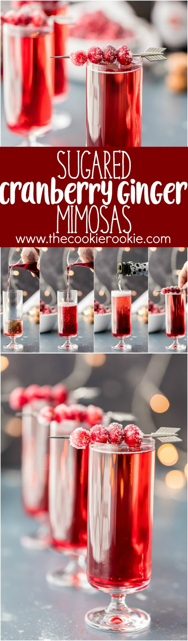 Sugared Cranberry Ginger Mimosas, ONLY THREE INGREDIENTS! Easy holiday cocktail recipe perfect for Thanksgiving, Christmas, and Valentine's Day! Pretty Red Cocktail!