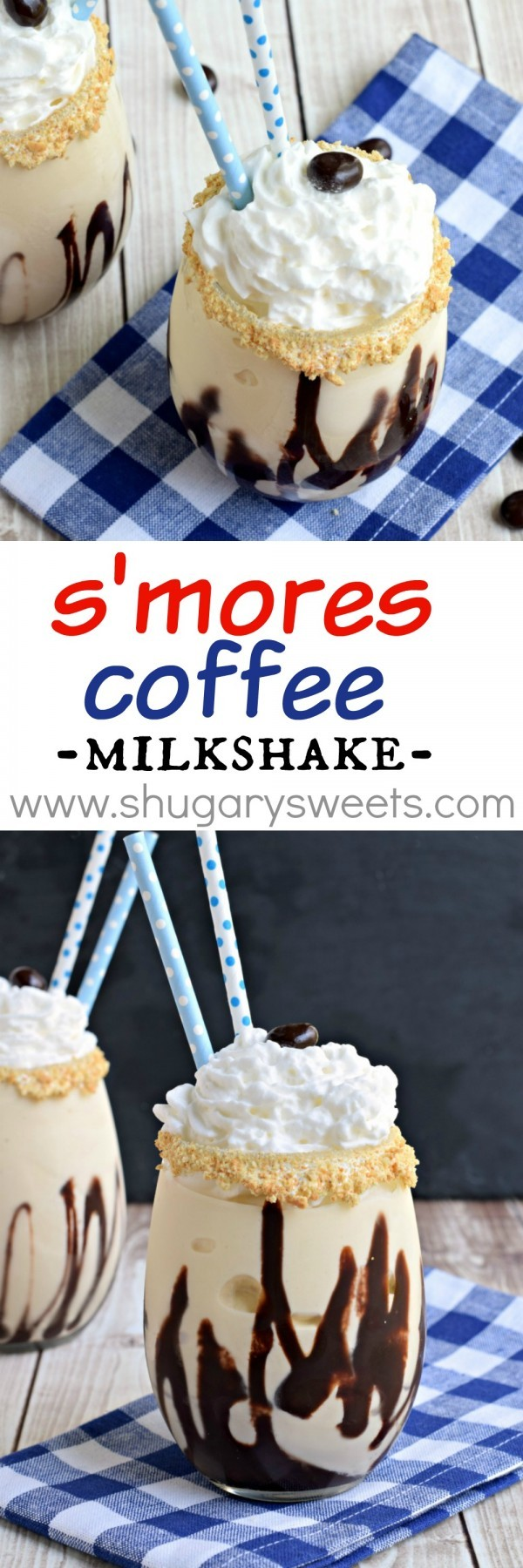 S'mores Coffee Milkshake: made with vanilla ice cream, brewed coffee, marshmallow and grahams. This is one afternoon pick-me-up you must try!