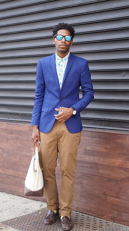 Blue Blazer, Chinos Floral Shirt, Mirrored Shades - Style Society Gu