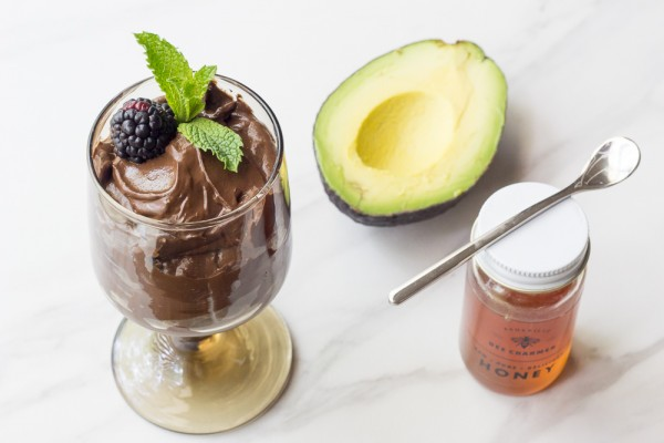Avocado mousse is a luscious, rich chocolate dessert sweetened with honey.