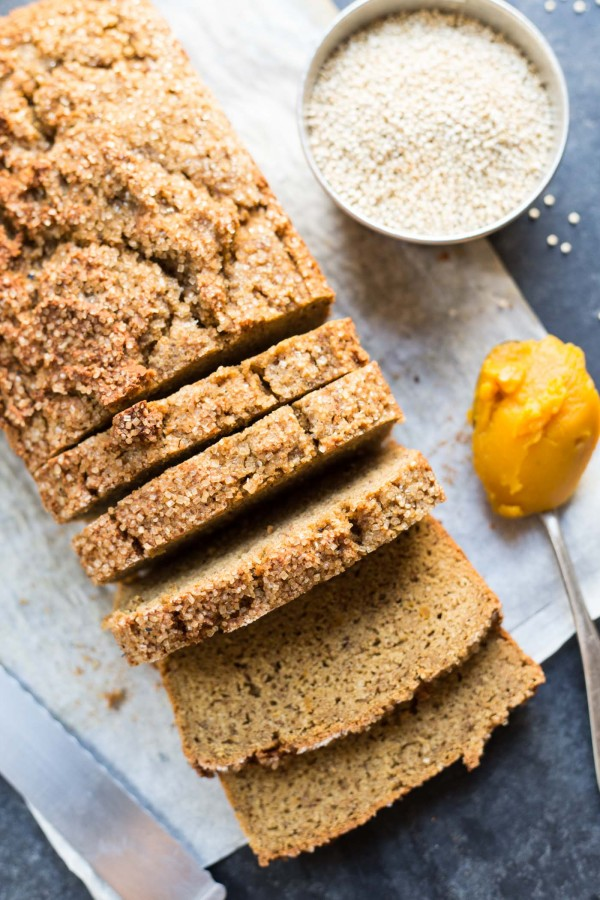ALMOND FLOUR PUMPKIN BREAD -- healthy, high protein, and the perfect breakfast treat!