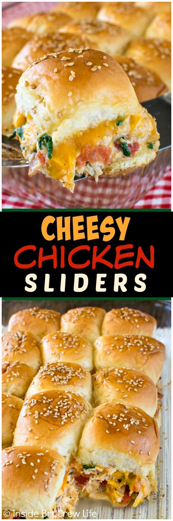 Cheesy Chicken Sliders - these easy dinner rolls are loaded with veggies, cheese, & meat. Great recipe for busy school nights or game day parties!