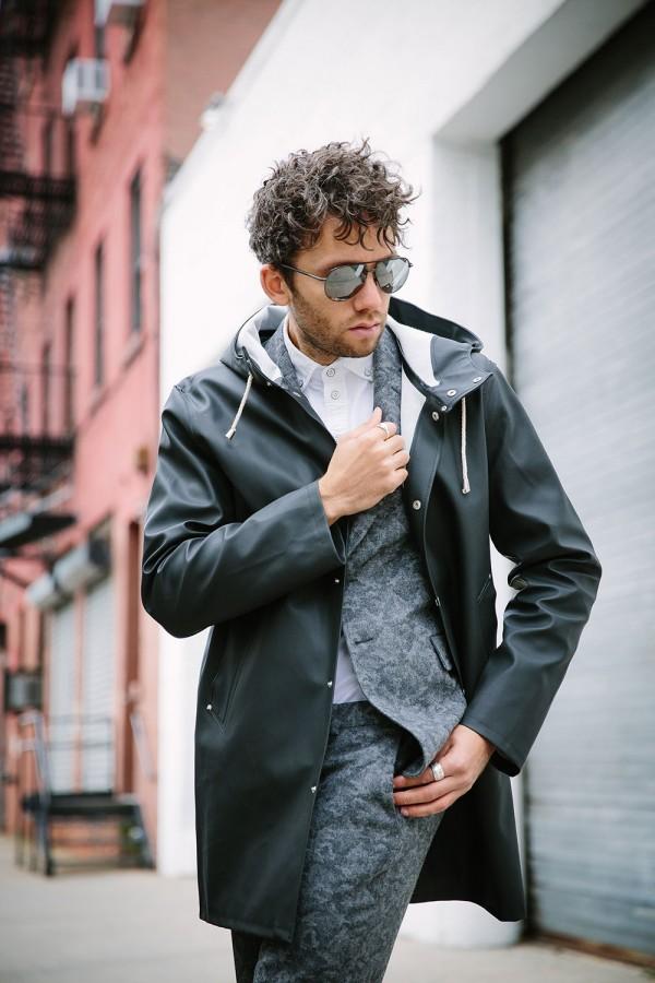 Black Stutterheim Stockholm rain coat with printed suit