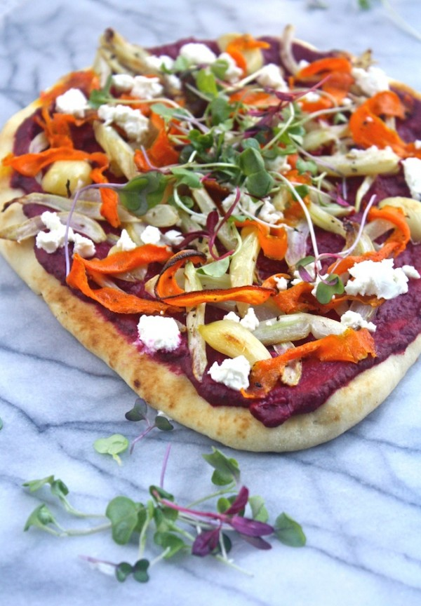 A pretty presentation and great flavor, too: Flatbread Pizza with Beet Hummus and Roasted Veggies