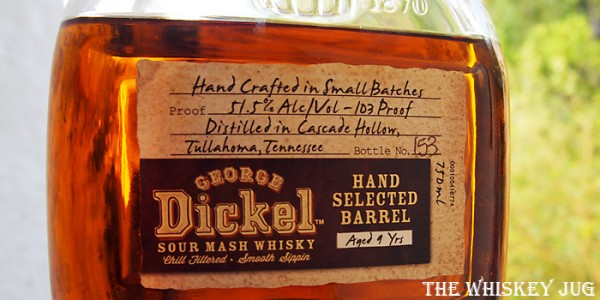 George Dickel Single Barrel 7234K1002 Label