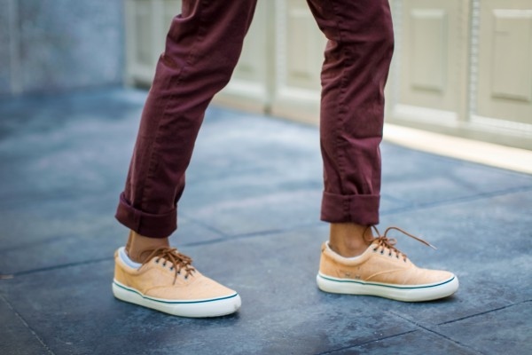 mens colored canvas sneakers Sperry