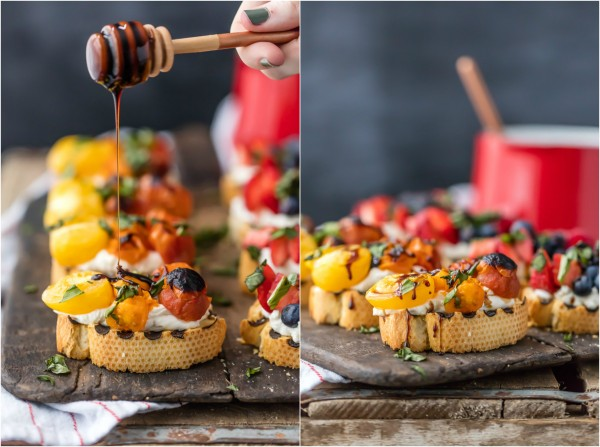 TRIPLE BERRY WHIPPED GOAT CHEESE BRUSCHETTA is beautiful and delicious! Plus a Caprese Whipped Goat Cheese Bruschetta that is everyone's favorite! Drizzled with balsamic reduction. Best classy appetizer for any occasion!