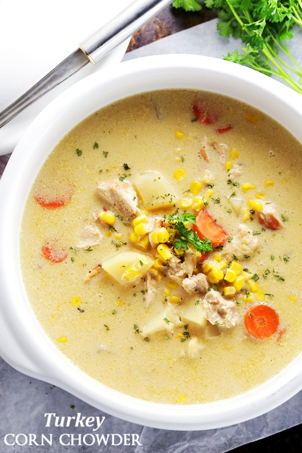 Turkey corn chowder one pot and 30 minutes is all you will need to