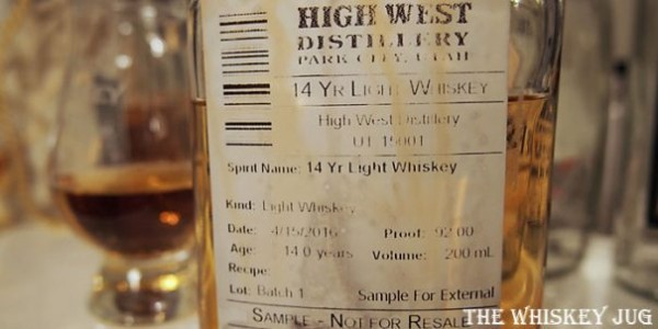 High West 14 Year Old Light Whiskey Label