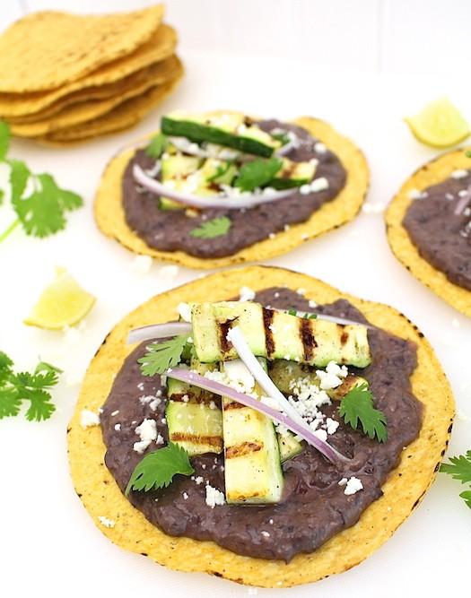 Spicy Black Bean Hummus + Grilled Zucchini Tostadas | LocalSavour.com