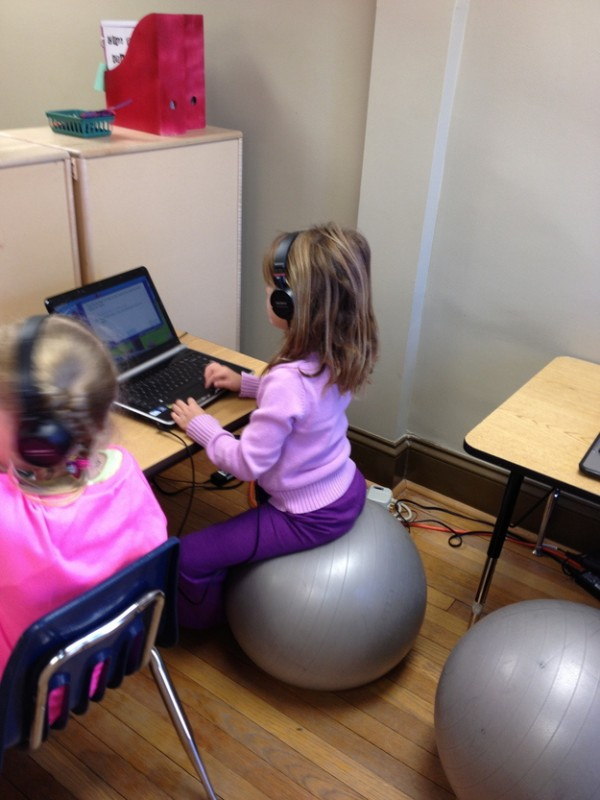 Have your child sit on a stability ball while doing homework — it'll help with their concentration.