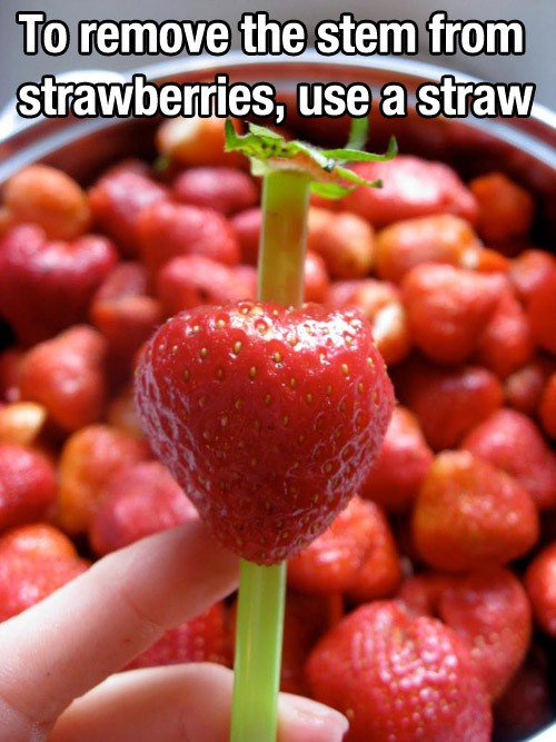 Use a straw to hull strawberries.