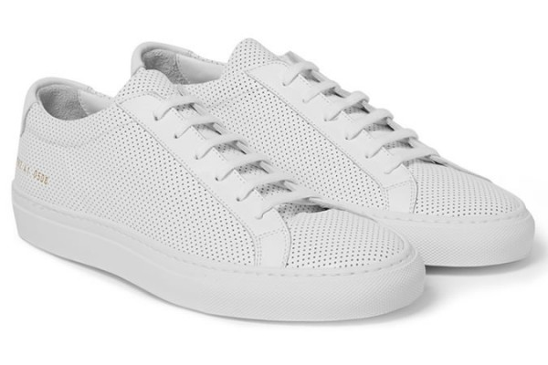 COMMON PROJECTS ACHILLES PERFORATED LEATHER LOW TOP SNEAKERS
