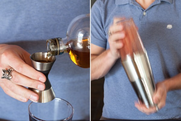 add bourbon and shake