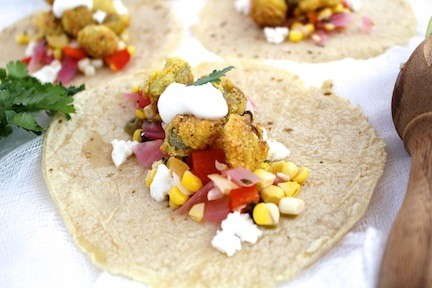 Fried Green Tomato Tacos with Sweet Corn Relish | LocalSavour.com