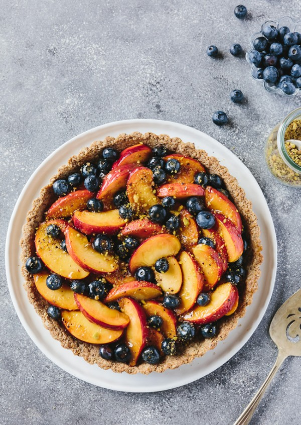 Fresh Peach and Blueberry Tart with Walnut Crust   Foolproof Living