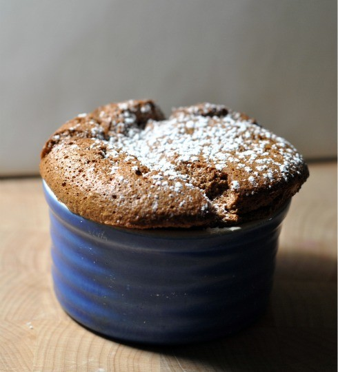 Chocolate Souffle in ramekin