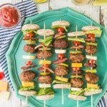 Deconstructed Bacon Cheeseburger Kebabs!! Such a fun and cute appetizer on the grill for Summer. Loaded with meatballs, cheese, bacon, and all the fixings of a great burger!