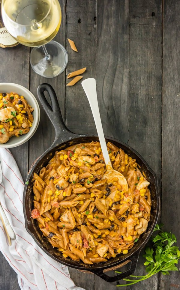 One Pan Southwest Chicken Alfredo Skillet | The Cookie Rookie