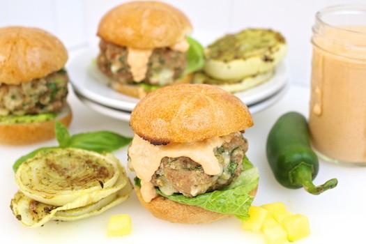 Turkey, Kale + Cheddar Sliders with Mango Sriracha Sauce | LocalSavour.com