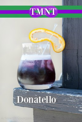 TMNT Donatello cocktail, orange vodka, blueberry schnapps, sloe gin, sweet & sour mix, lime juice
