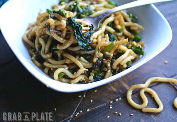 Twirl up a forkful of Pan-Fried Udon Noodles with Garlic and Rapini