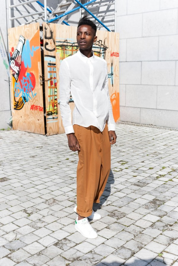 H&M Men's Collection FW/15 Style Guide by JON THE GOLD - Hobo Chic look with camel dressed pant and white linnen shirt white stan smith sneakers