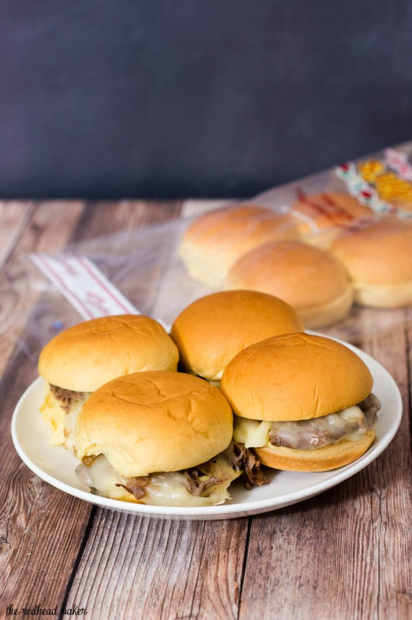 Snack on these easy Philly cheesesteak sliders, loaded with beef, fried onions, and provolone cheese at your next football party! #SundaySupper