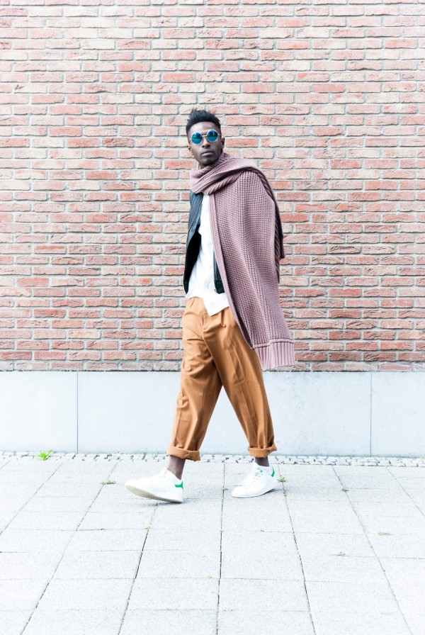 H&M Men's Collection FW/15 Style Guide by JON THE GOLD - Hobo Chic look with camel dressed pant and harrington style leather jacket white stan smith sneakers and oversized scarves