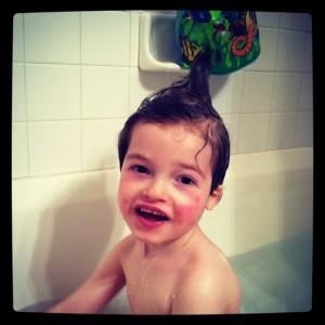 isaac taking a bath