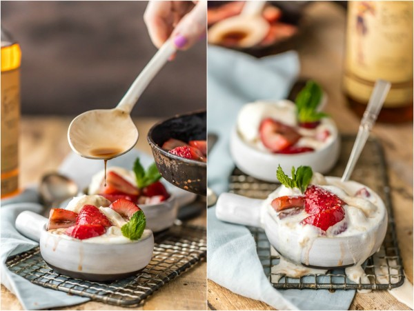 Forget Bananas Foster and make this SUPER EASY Strawberries Foster! Delicious, easy, and beautiful! Impress guests with Strawberries Flambe over ice cream! The best dessert for entertaining.