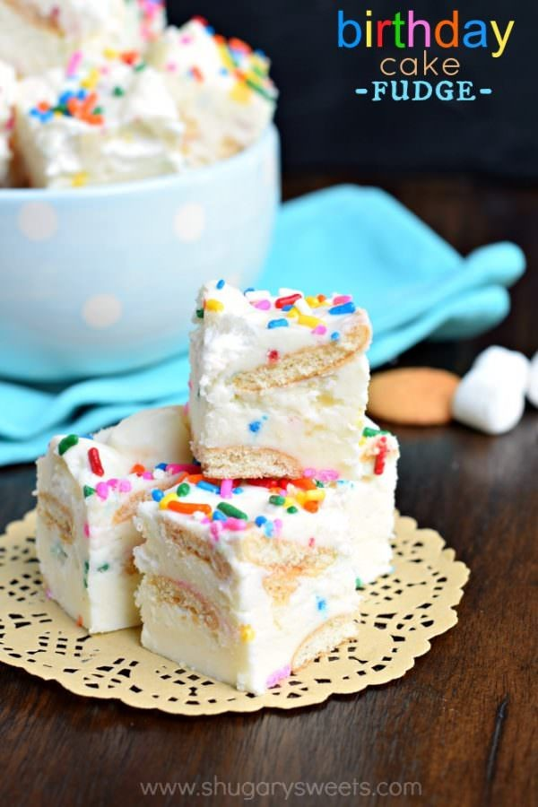Birthday Cake Fudge is a fun, festive Disney inspired treat. Packed with cookies and marshmallow, this is one dessert you can't resist!