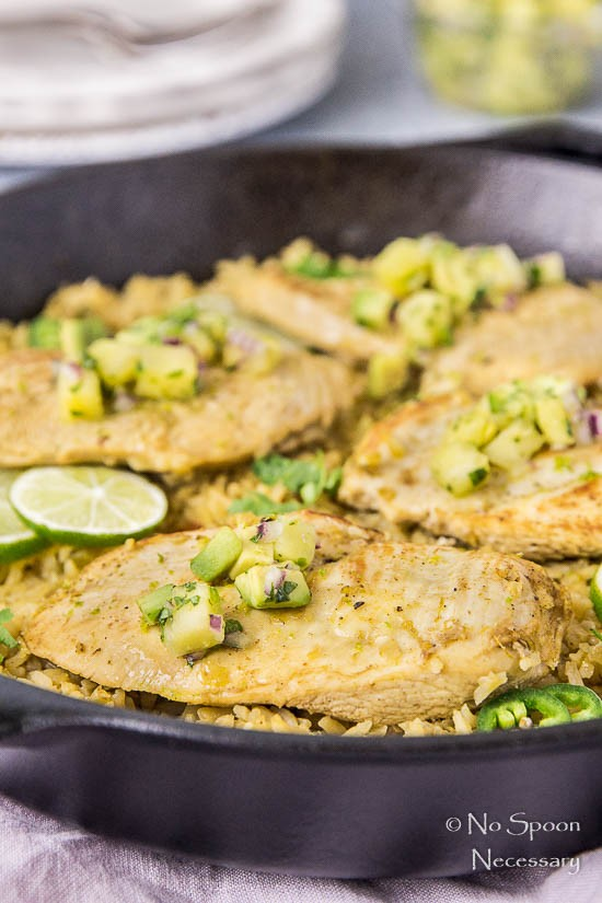 One Skillet Cumin & Lime Chicken with Pineapple-Avocado Salsa-122