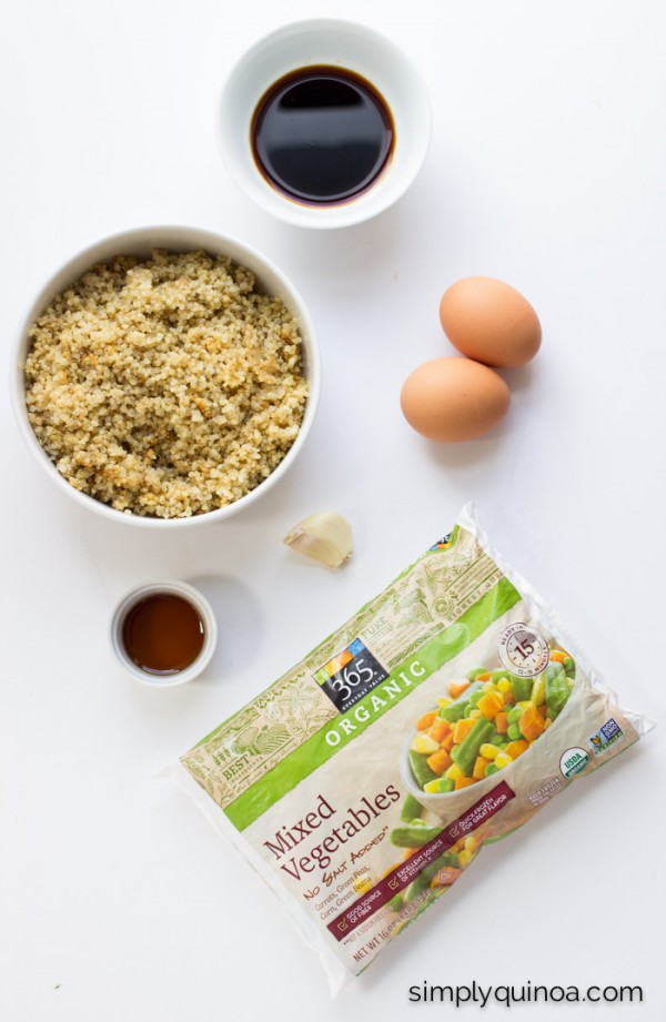 Super Easy Vegetable Quinoa Fried Rice that's made in less than 10 minutes and uses only 7 ingredients! (it's also gluten-free + vegetarian)