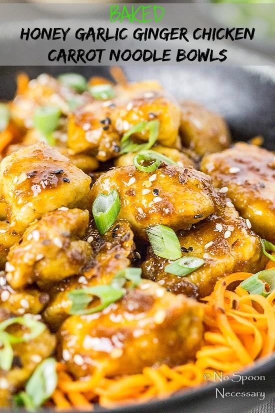 savory crispy baked chicken over crunchy spiralized strands of carrot ...