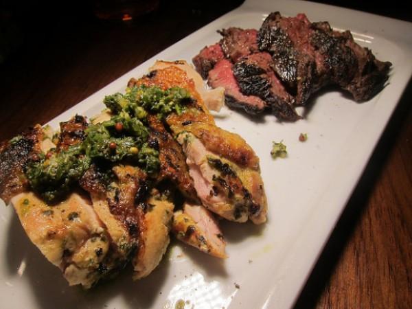 Jidori chicken and prime hanger steak
