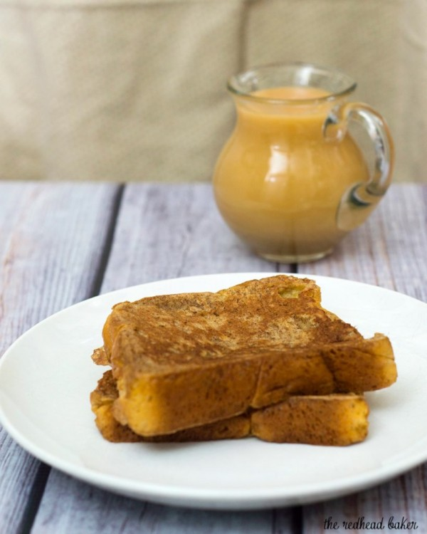 Rich slices of French toast are topped with vanilla-apple compote and caramel syrup. The compote and syrup can be made ahead and rewarmed before serving. #BrunchWeek TheRedheadBaker.com