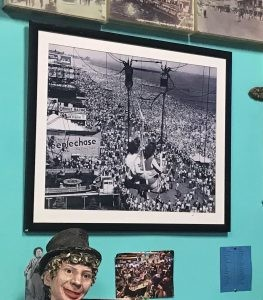 a framed photo of the old days of the Coney Island Luna Park Parachute Drop at Ruby's, photo by Amanda Schuster