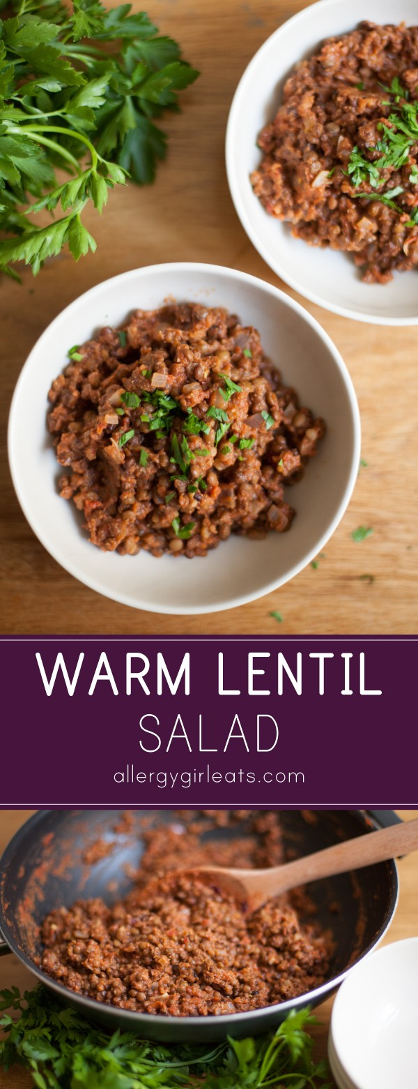 Warm lentil salad is the perfect answer to a healthy and easy weeknight meal. Made of canned lentils, canned diced tomatoes, red onion and flavoured with cumin and red pepper flakes.