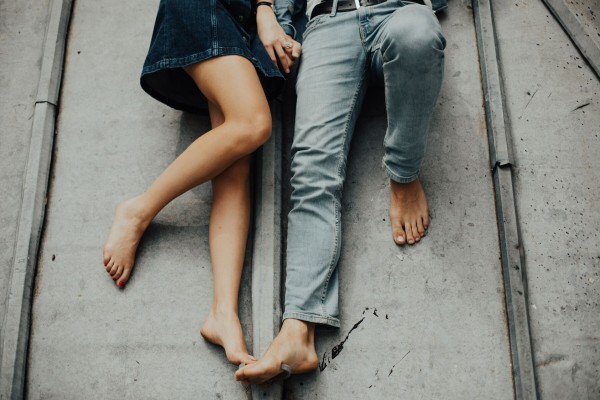 man and woman legs