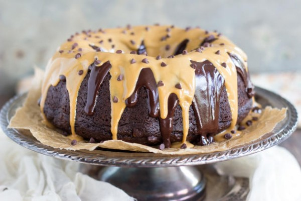 Dark Chocolate Peanut Butter Bundt Cake Photo