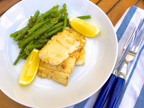Pan fried cod with pistachio green beans by Mardi MIchels eatlivetravelwrite.com
