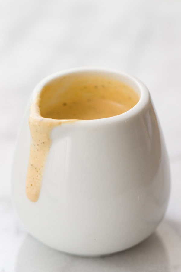CREAMY MISO GINGER SAUCE -- made with tahini, hemp seeds, hot sauce, ginger and miso!