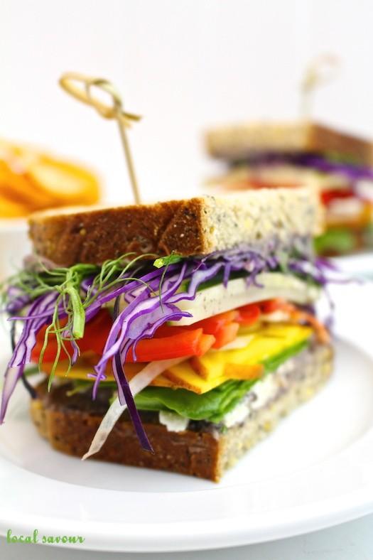 Spicy Black Bean Hummus Vegetable Sandwiches | LocalSavour.com