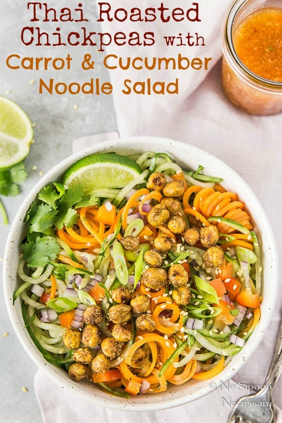 Thai Roasted Crispy Chickpeas with Cucumber & Carrot Noodle Salad- short pin1