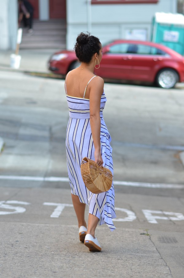 Keds shoes, sponsored post, Banana Republic stripe dress, large hoop earrings, SF style, chic street style