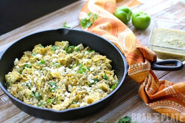 Serve Skillet Pork Migas with Roasted Tomatillo Salsa at your next morning meal