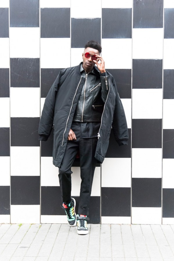 H&M Men's Collection FW/15 Style Guide by JON THE GOLD - All Black Urban Chic look with dressed pants and harrington style leather jacket long bomber jacket and adidas sneakers