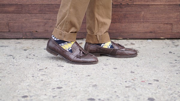 Brown Mens Loafers, Yellow Socks